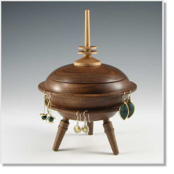 Barclay Fine Woodworking Turned Jewelry Box With Earring
